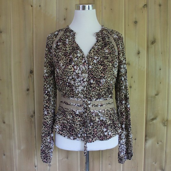 American Rag Cheetah Animal Print Corset Shirt M